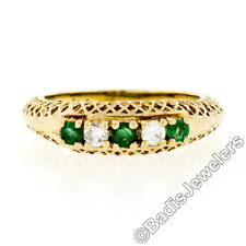 Vintage 14K Yellow Gold .36ct Emerald Diamond Puffed Pierced Open Work Band Ring