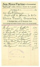 Oct 16, 1897, Sea Moss Farine, Choice Family Groceries, Providence, RI Billhead