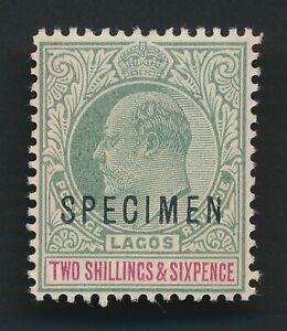 LAGOS NIGERIA STAMP 1903 KEVII 2/6- SPECIMEN MNH OG, SG #51s Sc #47, CV $220 VF
