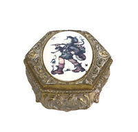 Vintage Ornate Gold Patina Metal Oval Footed Trinket Box Enamel Inset Boy Bird