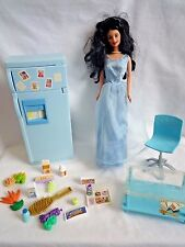 VINTAGE BARBIE DOLL BLUE DRESS WITH FRIDGE & EXTRAS AND TABLE &  SWIVEL CHAIR