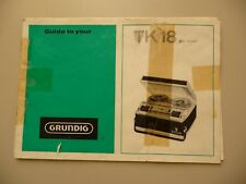 Instructions reel to reel tape recorder GRUNDIG TK18  CD/Email