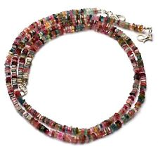 """Natural Gem Brazil Tourmaline 4MM Size Smooth Square Heishi Beads Necklace 17.5"""""""