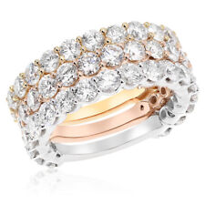 Round Diamond Stacked Right Hand Band Ring 18K Rose White Yellow Gold 5.93c Pave
