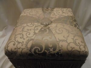 """Vintage Style Champagne Colored  Harlequin OTTOMAN - 14"""" Sq X 10 """" -  Lg Fringed"""