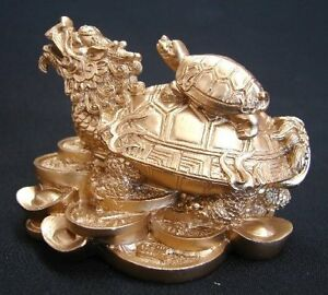 GOLD Feng Shui Dragon Turtle Tortoise Statue Figurine Coin Money Wealth