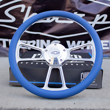 "14"" Billet Steering Wheel for Chevy - Blue Wrap and Chevy Horn Button"