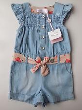M&Co Baby Girl Blue Denim Shortalls Playsuit Size 00 Fits 3-6m NEW