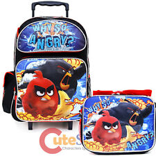 "Angry Birds Large School Roller Backpack 16"" Wheeled Bag Lunch 2pc Set Why SO"