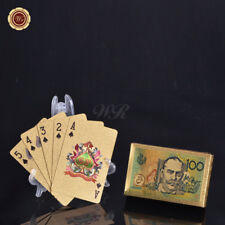 WR 24k Gold Plated Playing Cards Poker Australian Aussie $100 note Design Gifts