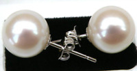 perfect round pair AAA+ 7-8 mm white akoya pearl earring 14k white gold