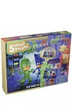 Brand New Sealed PJ Masks 5 Wood Puzzles in Wooden Storage Box TV Movie Toys