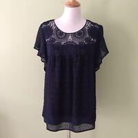 NWT New DR2 By DANIEL RAINN Women's LARGE Navy Blue TOP Swiss Dot Crochet Lace