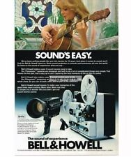 1977 Bell & Howell Filmosonic Movie Camera Projector Girl w/Guitar Vtg Print Ad