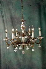 "Chandelier Working 6 Arm VTG 24"" x 19"" Porcelain 18 White Flowers, Beads, Brass"