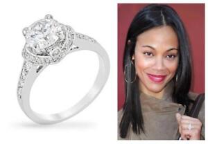 4 TCW Round Brilliant CZ 3 Carat Solitaire Bezel Engagement Bridal Ring Size 9
