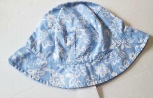 NWT Baby Gap Girl Vintage 2004 Blue/White Batik Floral Sun HAT 12-24