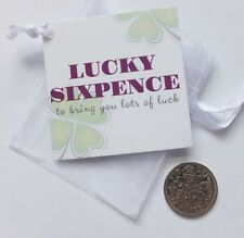 Lucky Sixpence Coin Keepsake Gift Four Leaf Clover Tag General Lucky Charm
