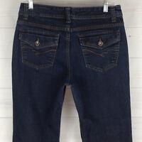 Nine West Petite Womens 10P SHORT Stretch Blue Rich Dark Wash Flap Bootcut Jeans