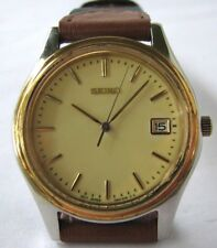 Seiko 7n42 Quartz Date Watch with New Fabric and Leather Bracelet