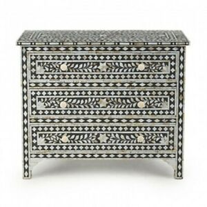 Bone inlay Black Floral Chest of 3 Drawers dresser (MADE TO ORDER)