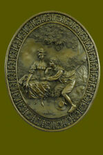 Genuine Hand Crafted Large Bas Relief Plaque Couple Art Sculpture Statue Bronze