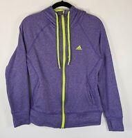 Adidas ClimaWarm Hoodie Medium Purple Neon Green Hooded Sweatshirt Zip Jacket