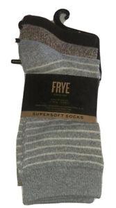 Frye Super Soft Crew Socks 3 Pair Women's 5-10 Blue Brown Poly Blend NEW $28