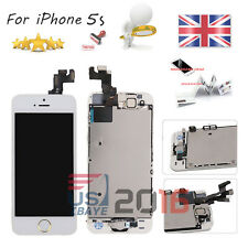 For iPhone 5S White Touch Screen LCD Digitizer + Gold Button +Camera Replacemen