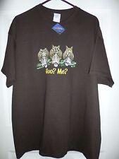 "NWT 3 Owls ""Hoo? Me?"" XL Dark Brown T-Shirt; Gildan Cotton; Earth Sun Moon Co."