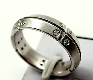 Tiffany & Co. Streamerica® 18k White Gold Diamond Band Ring Size 5.5