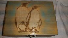 Hand Crafted Beautiful Penguins Wooden Box Hand Painted, Jewelry, Tooth fairy