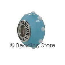 NEW Pandora Seeing Spots Light Blue & White Murano Glass Charm Rare 790629 79629