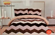 Borrego Flannel Fleece Blanket Shams 3 pc California King Beige Brown Chevron