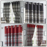 Grey or Red Eyelet Curtains Tartan Check Plaid Ready Made Lined Ring Top Pairs