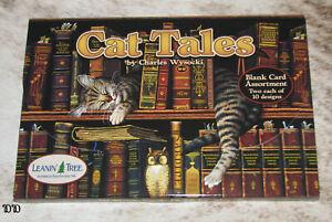 LEANIN TREE Cat Tales 20 GREETING CARDS~2 each 10 Designs #90737~Blank Inside~