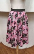 Odille Anthropologie Pink/Gray Floral Patterned Knee Length Circle Full Skirt 2