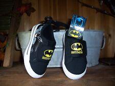 BATMAN BOY TODDLER CASUAL SLIP ON SHOES SIZE 7 BLACK SUPER HERO SHOES FUN NEW
