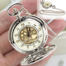 Rétro vintage antique steampunk montre de poche horloge quartz collier pendentif cadeau