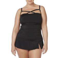 A SHORE FIT! - Women's Crisscross Swim Dress, Plus-Size: 18W ,  color: Black