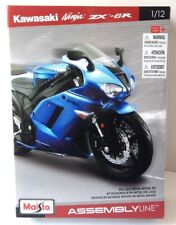 Maisto 1:12 KAWASAKI NINJA ZX-6R blue Motorcycle Assembly Line Model Kit Toy