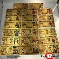 Lot 20 x Billet 10000 Yen Dragon Ball Z DBZ Gold / Carte Card Carddass banknote