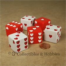 NEW 6 Sweetheart Dice Jumbo 25mm 1 inch D6 Set Red & White Hearts Valentine