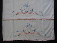 vintage pillowcase set, hand embroidery, pillow case, embroidered pillowcases 04