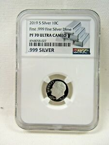 2019-S SILVER ROOSEVELT DIME FIRST .999 SILVER DIME NGC PF 70 ULTRA CAMEO