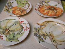 4 POTTERY BARN  6 3/8 Inch Harvest Pumpkin Appetizer Plates, Watercolor