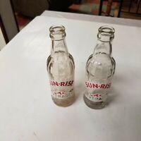 Vintage 1960s Sun-Rise Beverages 7 oz. Soda Pop Bottle Lot of 2, Heavy Glass