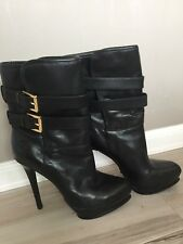 1a1b993022f Michael Kors Black Leather Boots Heeled Size 8 Booties Buckle