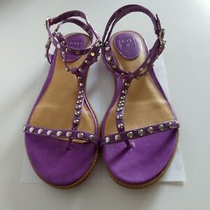 FRYE 10M NEW Mary Studded T Strap All Leather Silver Hardware Purple Sandals