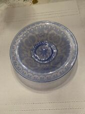 Old Blue Bohemian Cut To Clear Etched Deer And Castle Bowl